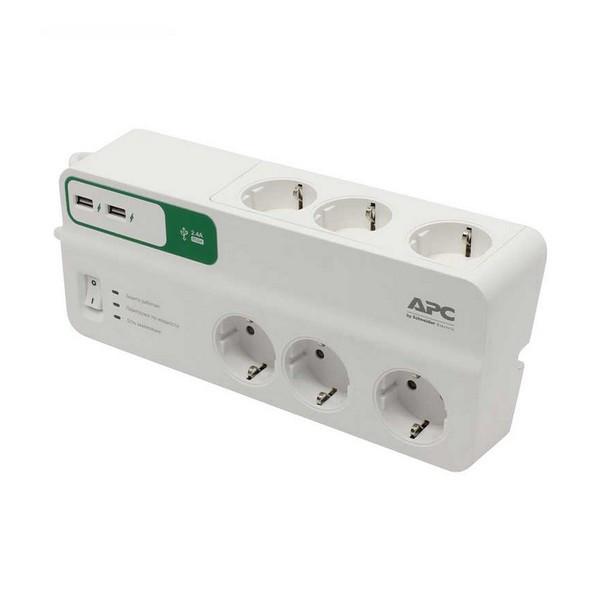 Мережевий фільтр 220v (2м) APC (6 розеток) PM6U-RS White