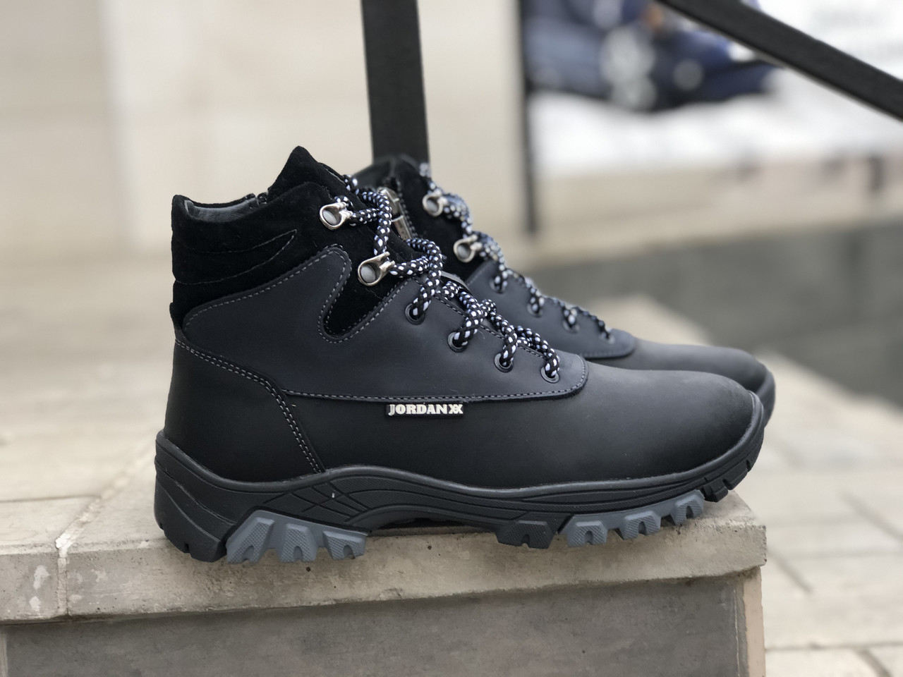 Кожаные  ботинки на мальчика Jordan 6030 ч/син размеры 35,37,38