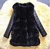 Жіноча зимова шуба з шкіряними рукавами. (11205)