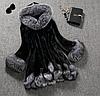 Женская меховая шуба с капюшоном. (0395)