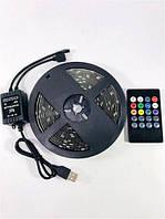 Светодиодная лента 5V USB LED 5050 RGB комплект 5 метров, разноцветная (с микрофоном)