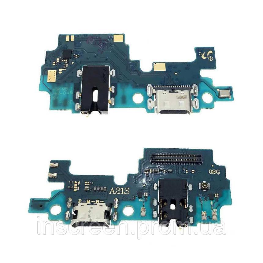 Нижня плата Samsung A217 Galaxy A21S 2020 з роз'ємом зарядки, роз'єм навушників, мікрофоном, фото 2