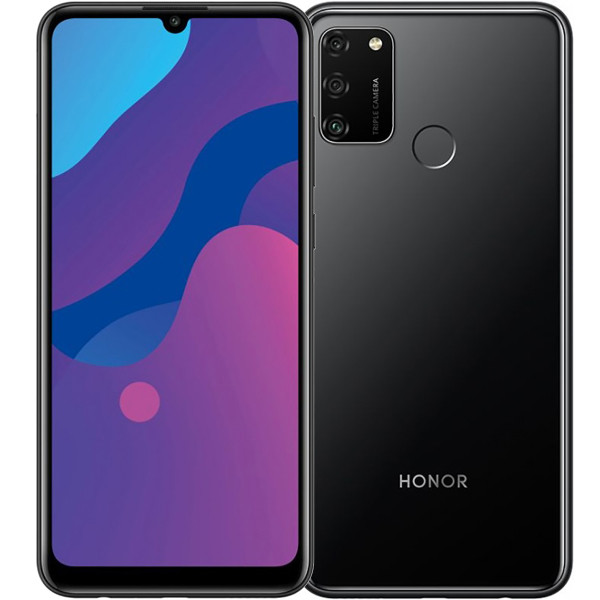 "Смартфон Honor 9A 3/64Gb Black Global, 13+5+2/8Мп, 6.3"" IPS, 2sim, 4G, 5000мАh, Helio P35 MT6765"