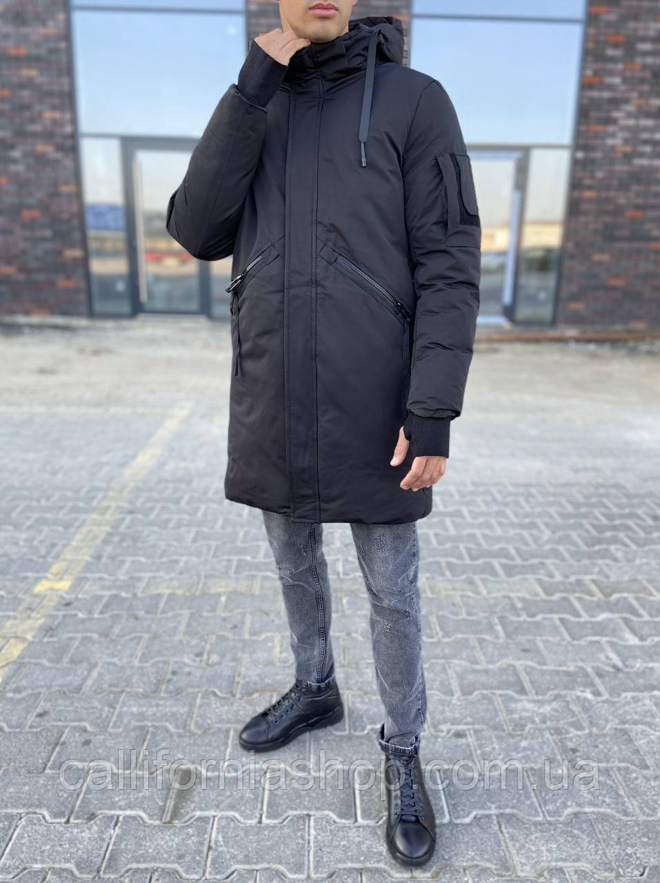 Зимняя мужская черная куртка парка длинная с капюшоном на холлофайбере теплая