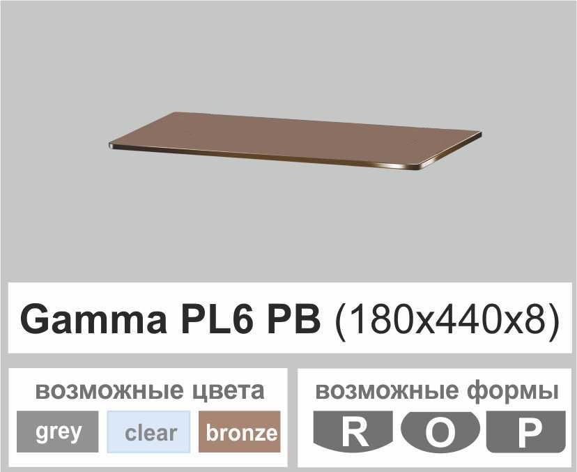 Скляні полиці настінні навісні прямокутні Commus PL6 PB (180х440х8мм)