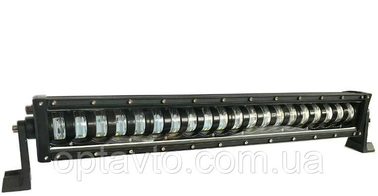 LED фара-балка 58см \ 168Вт. Светодиодная лэд фара 20 линз (светотеневая граница) Боковой крепеж.