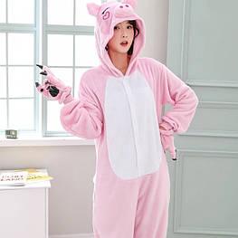 Костюм кигуруми пижама розовая свинка для взрослых и детей, кигуруми оптом