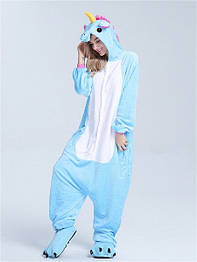 Костюм кигуруми пижама голубой единорог для взрослых и детей, кигуруми оптом