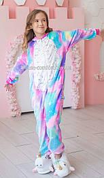 Костюм кигуруми пижама единорог Искорка с звёздным пузиком на змейке