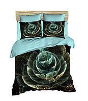 Комплект постельного белья LightHouse Ранфорс 3Д Astra Бирюзовый Евро подарок на Новый год 2021