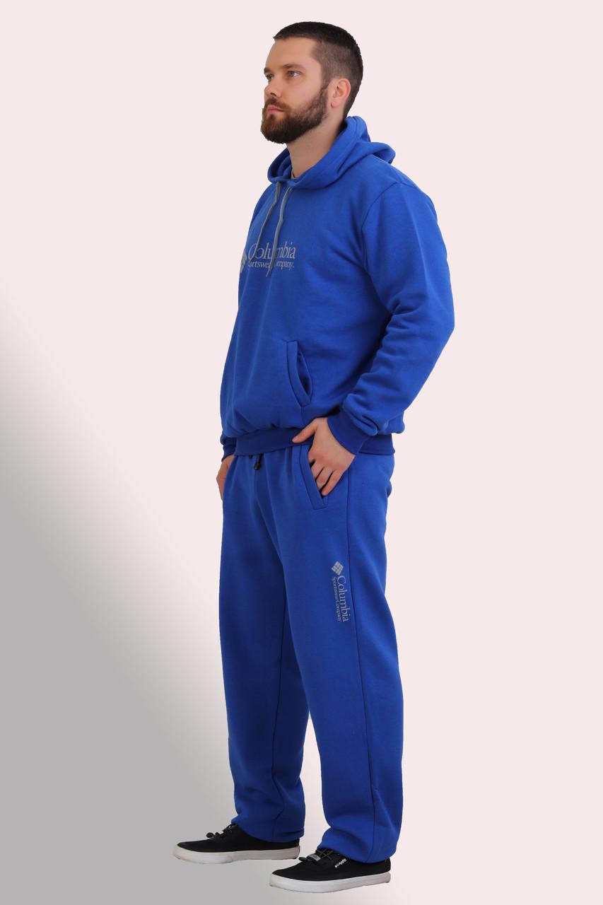 Чоловічий утеплений спортивний костюм з трикотажу тринитка з начосом, синього кольору, розміри 50 та 52