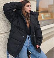 Женская зимняя куртка дутая оверсайз ЗИМА с капюшоном теплая черная Турция. Живое фото. 4 цвета