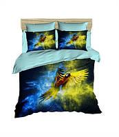 Комплект постельного белья LightHouse Ранфорс 3Д Gold and Blue Евро подарок на Новый год 2021