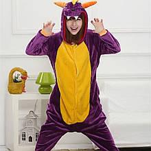 Кигуруми для дорослих Дракон піжама комбінезон кигуруми фіолетова S