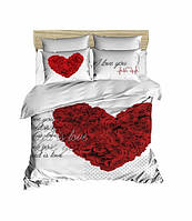 Комплект постельного белья LightHouse Ранфорс 3Д Love You Евро подарок на Новый год 2021