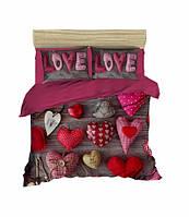 Комплект постельного белья LightHouse Ранфорс 3Д Love Love Евро подарок на Новый год 2021