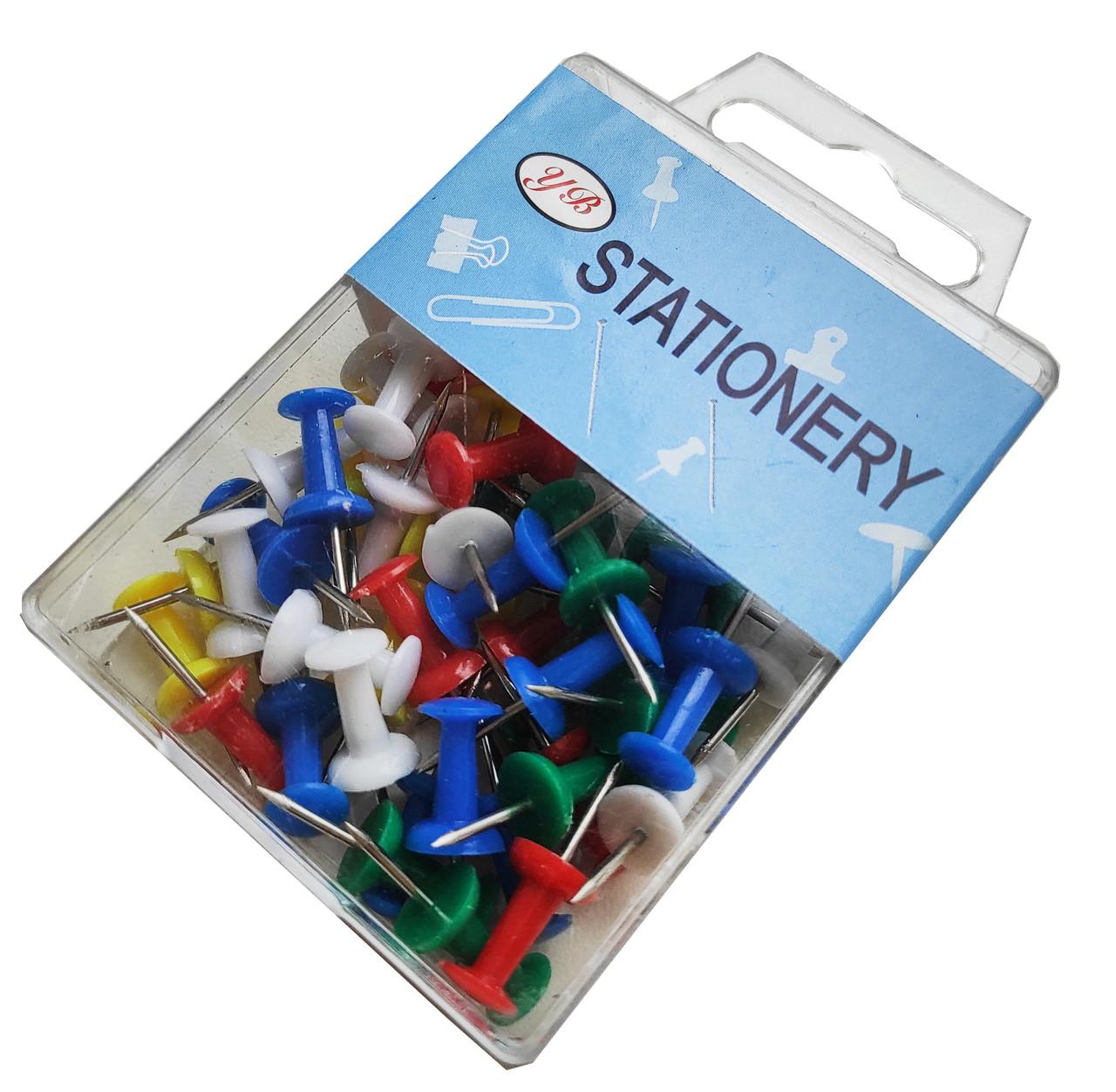 Кнопки канцелярские в коробке цветные (50шт/уп)