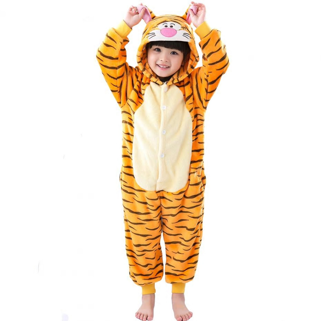 Кигуруми детская пижама тигр для мальчиков и девочек цельный костюм
