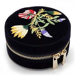 Шкатулка для украшений Wolf из бархата серии Zoe, круглая черная, цветочная вышивка (Великобритания)