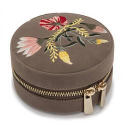Шкатулка для украшений Wolf из бархата серии Zoe, круглая коричневая, цветочная вышивка (Великобритания)