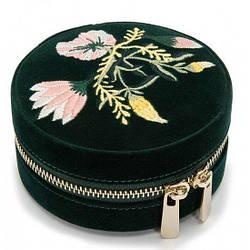 Шкатулка для украшений Wolf из бархата серии Zoe, круглая зеленая, цветочная вышивка (Великобритания)