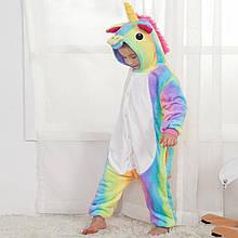 Кигуруми пижама детская радужный Единорог цельная комбинезон для девочек