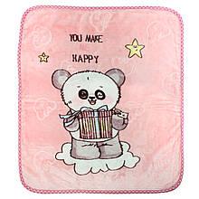 Одеяло детское розовое, покрывало розовое в детскую, пледик детский 100x110см