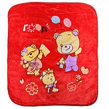 Одеяло детское красное, покрывало красное в детскую Мишка, пледик детский 100x110см