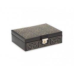Шкатулка для украшений Wolf из кожи серии Marrakesh черная, с узором из заклепок (Великобритания)
