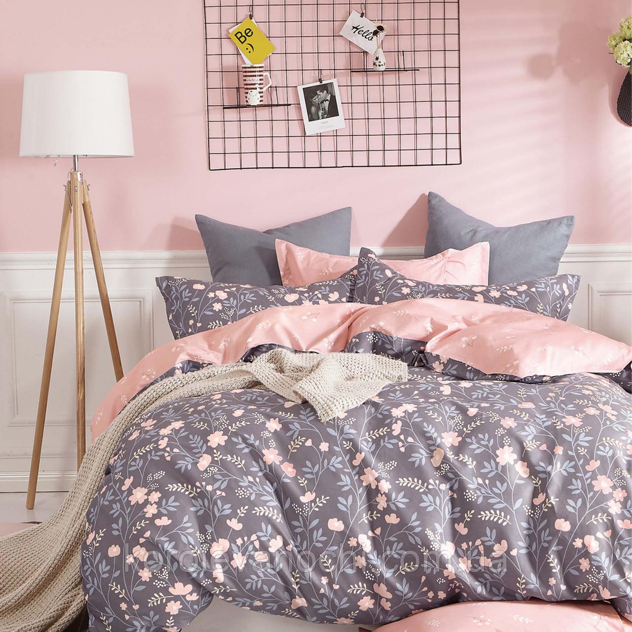 """Двуспальный комплект (Бязь)   Постельное белье от производителя """"Королева Ночи""""   Цветы на темном и розовом"""