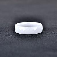 """Керамическое белое кольцо """"Грани"""", р. 16.5, 17.5, 18, 19"""