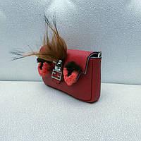 Сумка клатч Fendi Baguette Micro реплика красная кожа