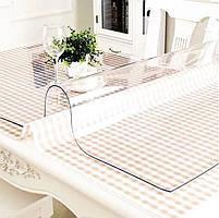 М'яке скло 0.6 мм 85*115 см прозора силіконова скатертину на стіл, ПВХ Силіконова скатертину, фото 3