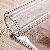 М'яке скло 0.6 мм 85*115 см прозора силіконова скатертину на стіл, ПВХ Силіконова скатертину, фото 6