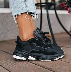 Женские кроссовки Adidas Ozweego осень-весна черные кожа рефлективные. Фото в живую. Реплика