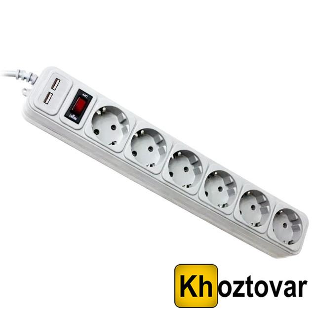 Универсальный сетевой фильтр-удлинитель | 6 розеток | 2 USB
