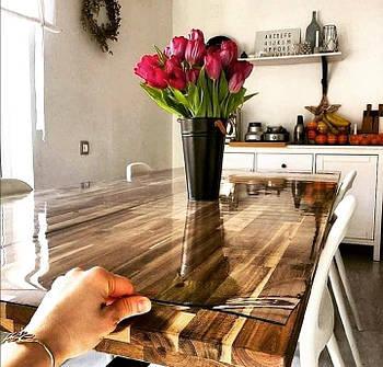 55 на 100 см Мягкое стекло 1,5 мм силиконовая прозрачная скатерть на стол, ПВХ