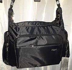 Сумка женская тканевая с карманами спортивная на плечо черная стильная фабричная Dolly 657