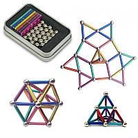Неокуб магнитные шарики Neo MIX COLOR (36 цветных палочек и 24 шарика-металлик) магнитный конструктор (ST)