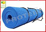 Коврик для йоги и фитнеса TPE(ТПЭ) 6 мм 183 см синий (стяжки в комплекте), фото 5