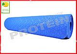 Коврик для йоги и фитнеса TPE(ТПЭ) 6 мм 183 см синий (стяжки в комплекте), фото 2