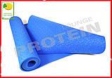 Коврик для йоги и фитнеса TPE(ТПЭ) 6 мм 183 см синий (стяжки в комплекте), фото 3