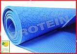 Коврик для йоги и фитнеса TPE(ТПЭ) 6 мм 183 см синий (стяжки в комплекте), фото 4