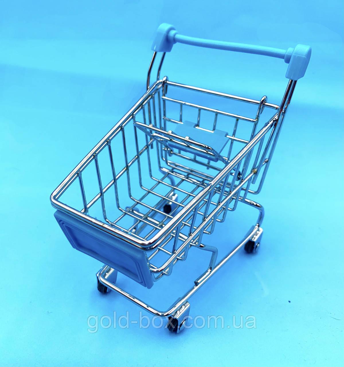 Міні візок на коліщатках металева блакитна