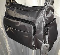 Сумка женская на плечо тканевая спортивная серая с карманами стильная удобная Dolly 657