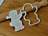 Новогодняя 3D формочка+каттер Дед Мороз мультяшный | Новогодняя вырубка | Вырубка для печенья новогодняя, фото 3