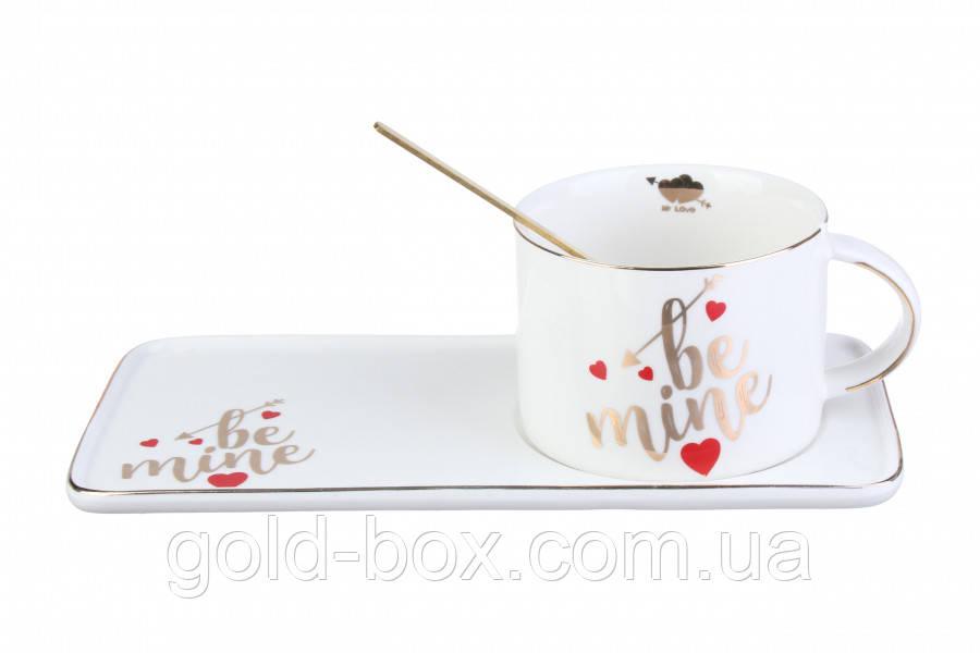 Чашка керамическая с блюдцем на подарок Be mine белая