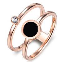 """Двойное женское кольцо """"Black"""" с позолотой, р. 16.5, 17.5, 18, 19"""
