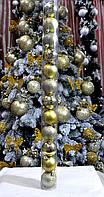 Набор шаров на елку пластик КЮ 13 d.50, 12 шт. Золото