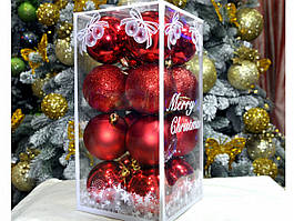 Набор шаров на елку пластик КЮ 21 d.60, 16 шт. Красный